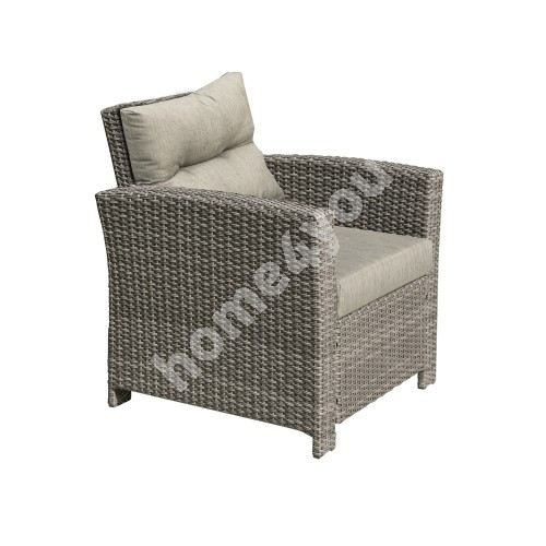 Armchair PAVIA with cushions 79x77xH84cm, aluminum frame with plastic wicker, color: brown