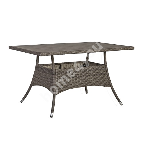 Table PALOMA 150x83xH72,5cm, table top: polywood, steel frame with plastic wicker, color: brownish gray