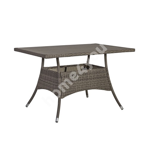 Table PALOMA 120x74xH72,5cm, table top: polywood, steel frame with plastic wicker, color: brownish gray