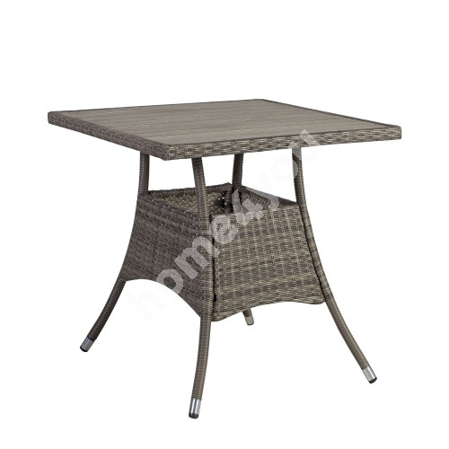Table PALOMA 74x74xH72,5cm, table top: polywood, steel frame with plastic wicker, color: brownish gray