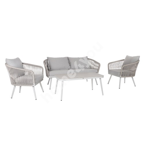 Garden furniture set ECCO table, sofa and 2 chairs, grey aluminum frame with rope weaving, grey cushions