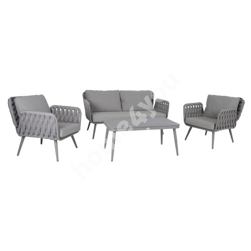 Garden furniture set ASCONA table, sofa and 2 chairs, grey aluminum frame with rope weaving, grey cushions