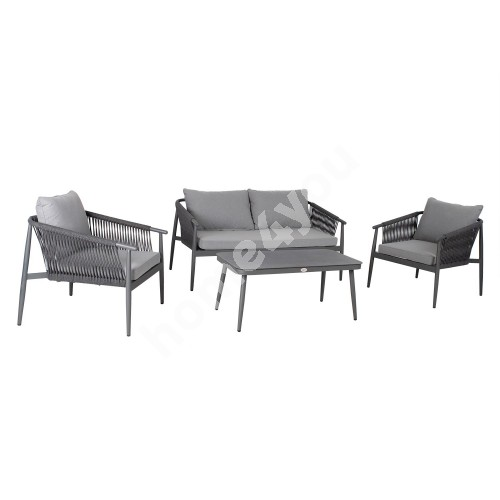 Garden furniture set WEILBURG table, sofa and 2 chairs, grey aluminum frame with rope weaving, grey cushions