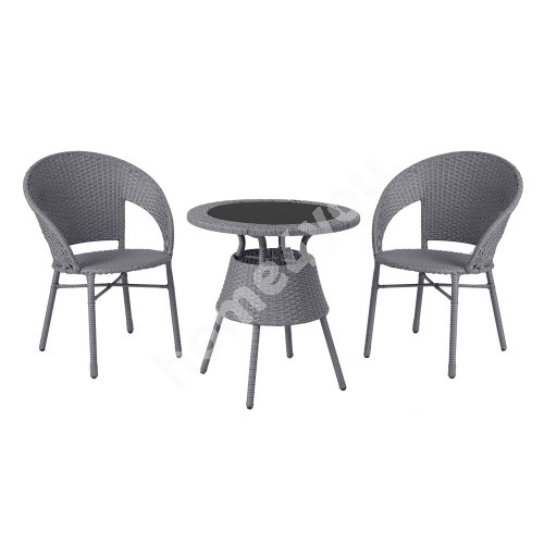 Balcony set PAULA table and 2 chairs, steel frame with grey plastic wicker, table top: black glass
