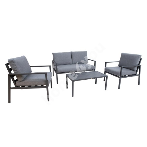 Garden furniture set ADRIO table, sofa and 2 chairs, dark grey