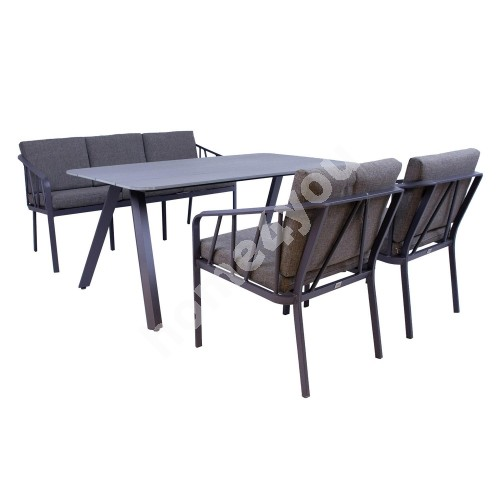 Garden furniture set KAHLA table, sofa and 2 chairs, grey