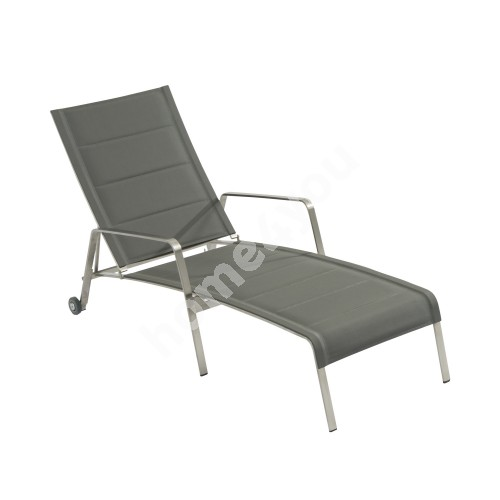 Deck chair BEVERLY 160x64xH50/92cm, seat: padded textiline, color: grey, stainless steel frame