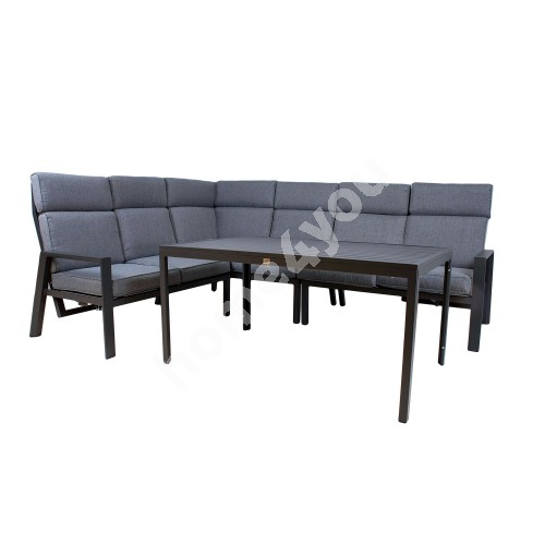Garden furniture set CASTEN table and corner sofa, dark grey