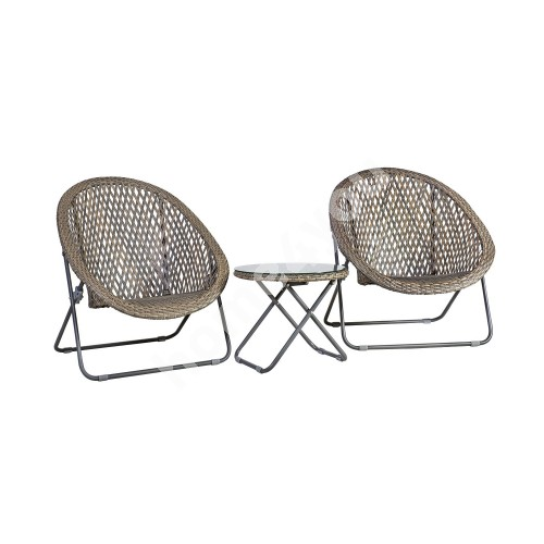Garden furniture set TURKU 2 chairs and table, foldable, seats and table top: plastic wicker, steel frame, color: grey