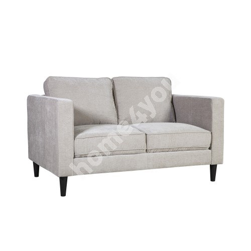Sofa SPENCER 2-seater 140x86xH86cm, cover material: velvet fabric, color: light grey, dark plastic legs