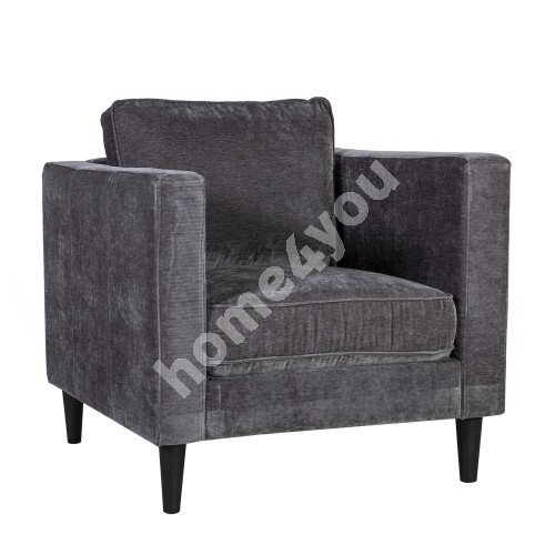 Armchair SPENCER 81x86xH86cm, cover material: velvet fabric, color: dark grey, dark plastic legs