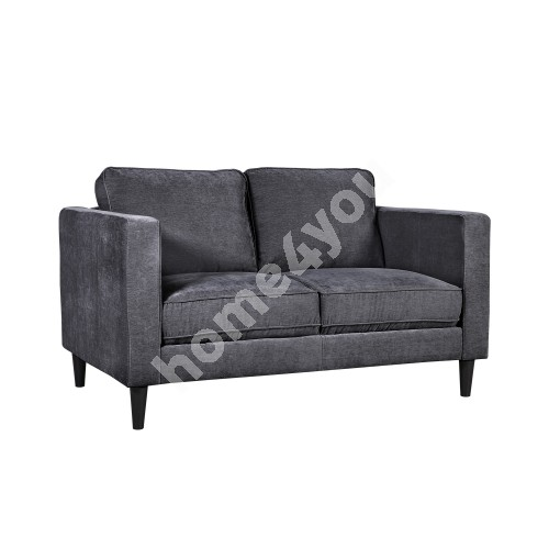 Sofa SPENCER 2-seater 140x86xH86cm, cover material: velvet fabric, color: dark grey, dark plastic legs