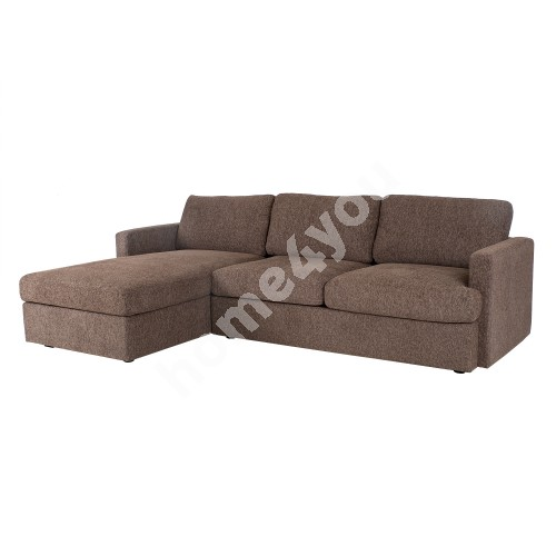 Corner sofa YORK VN 256x95,5/163xH85cm, cover material: fabric, color: brown