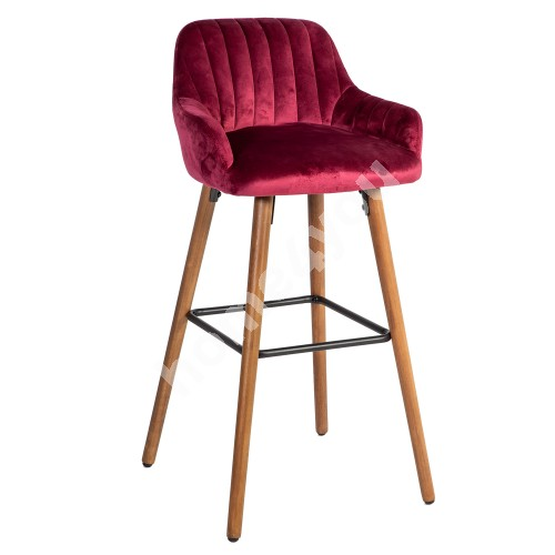 Bar chair ARIEL 48x52xH97cm, cover material: fabric, color: burgundy, beech wooden legs
