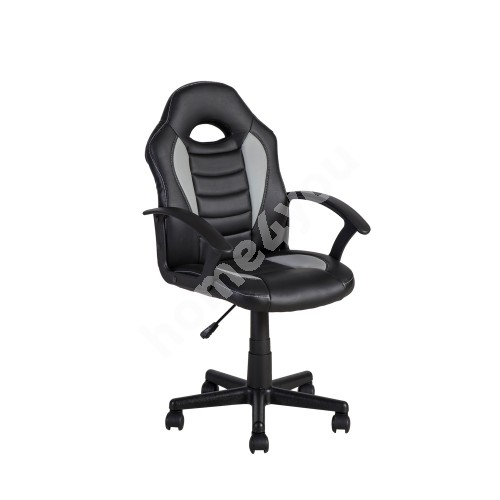 Task chair FORMULA-1 55x56xH88,5-99,5cm, seat and back rest: imitation leather, color: black with grey stipes