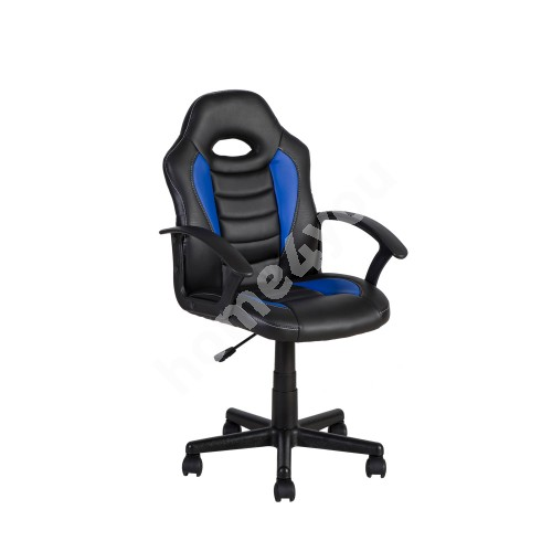 Task chair FORMULA-1 55x56xH88,5-99,5cm, seat and back rest: imitation leather, color: black with blue stripes
