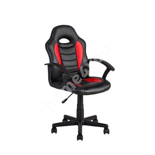 Task chair FORMULA-1 55x56xH88,5-99,5cm, seat and back rest: imitation leather, color: black with red stripes