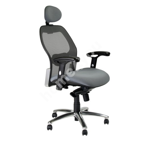 Task chair TERAMO 64,5xD65,5xH118-126cm, seat: fabric, back rest: mesh, color: grey