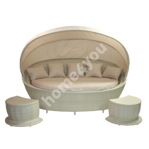 Sofa MUSE with canopy and 2 foot stools, 140x220xH90cm, aluminum frame with plastic wicker, color: vanilla