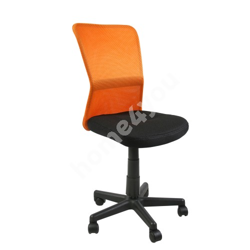 Task chair BELICE 41xD42xH83-93cm, seat: fabric, color: black, back rest: mesh, color: orange