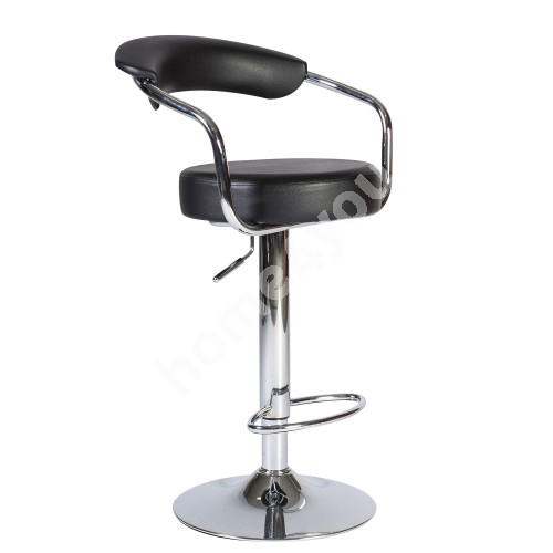 Bar chair LEON H62-84cm, seat: imitation leather, color: black, chromed leg