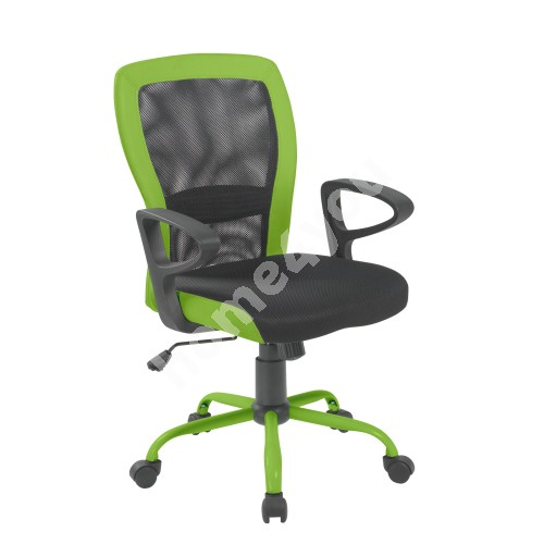 Task chair LENO 60x57xH91/98,5cm, seat: fabric, color: grey, back: mesh: color: grey, green PU borders