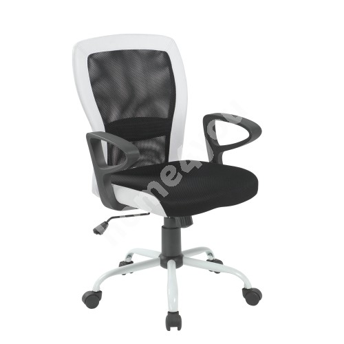 Task chair LENO 60x57xH91/98,5cm, seat: fabric, color: black, back: mesh: color: black, white PU borders