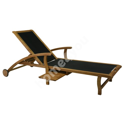 Deck chair FUTURE 200x75,5xH95cm, seat: textiline, color: black, wood: acacia, finish: oiled