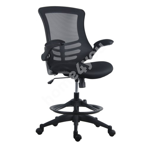High task chair TRIBECCA 62,5x62xH109-128,5cm, seat and back rest: black grey mesh fabric, black frame