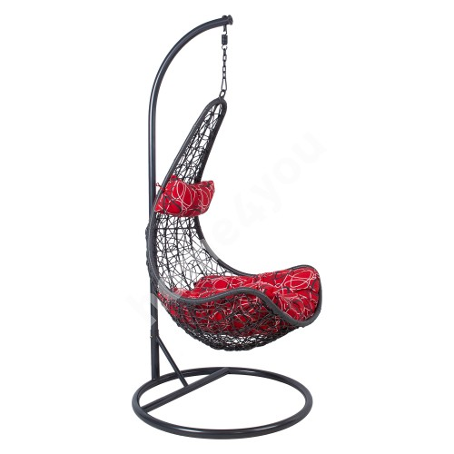 Hanging chair COCO with cushions 95x95xH195cm, leg: dark grey steel tube, seat: plastic wicker, color: dark grey