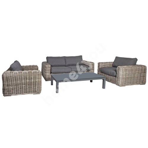 Garden furniture set CALISTA with cushions, table, sofa and 2 chairs, aluminum frame with plastic wicker, color: grey