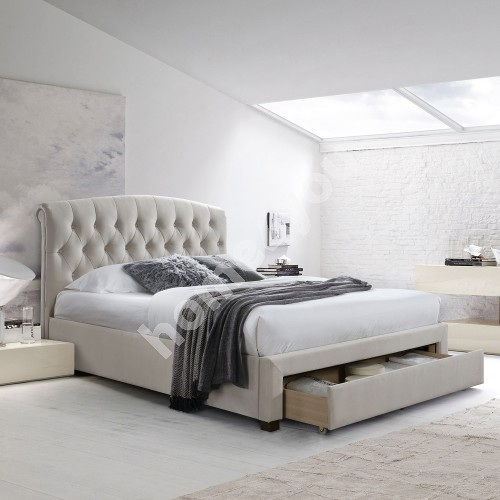 Bed NATALIA with drawer, without mattress 160x200cm, frame is covered with fabric, color: champagne