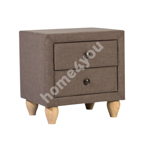 Night stand VICTORIA with 2 drawers 50,5x41xH55cm, frame is covered with fabric, color: brown