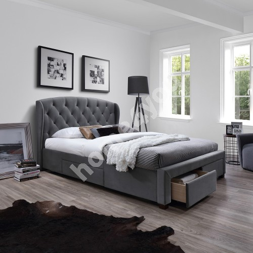 Bed LOUIS with 4 drawers, without mattress 160x200cm, frame is covered with fabric, color: grey