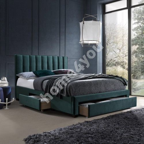 Bed GRACE 3-drawers, without mattress, 160x200cm, frame is covered with fabric, color: green