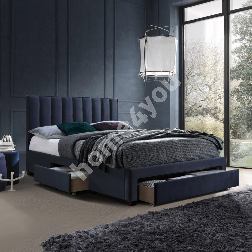 Bed GRACE 3-drawers, without mattress, 160x200cm, frame is covered with fabric, color: blue