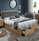 Bed BLOSSOM 160x200cm, dark grey / oak