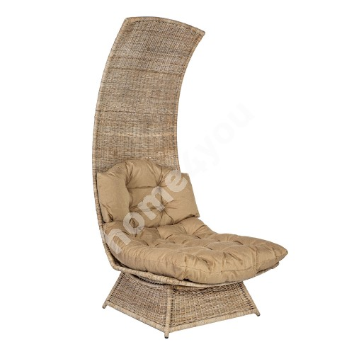 Leisure chair MOON with cushion 80x104xH180cm, metal frame with natural rattan weaving, color: grey