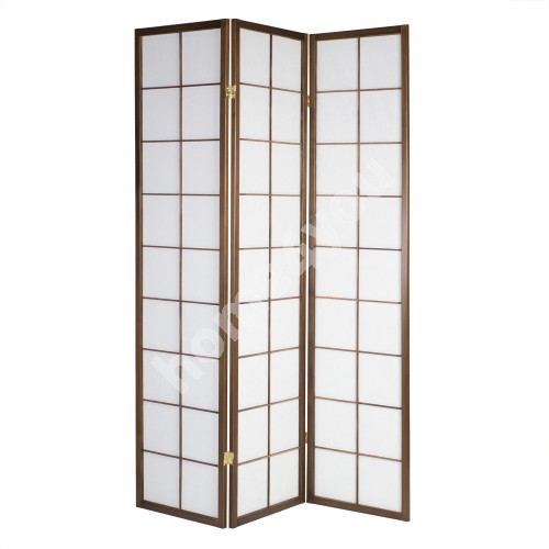 Folding screen ORIENTAL with 3 - panels 132x2,2xH179cm, pine wood frame, color: walnut
