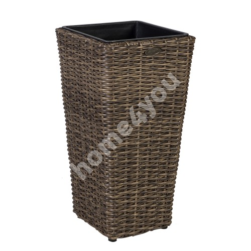 Plant holder WICKER D28xH60cm, plastic wicker, color: dark brown