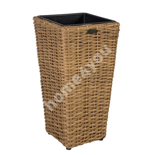 Plant holder WICKER D28xH60cm, plastic wicker, color: natural rattan