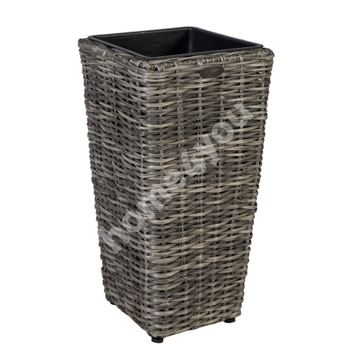 Plant holder WICKER D28xH60cm, plastic wicker, color: grey