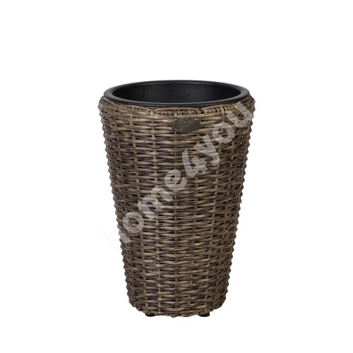 Plant holder WICKER D28xH40cm, plastic wicker, color: dark brown