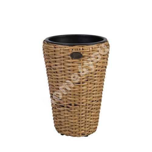 Plant holder WICKER D28xH40cm, plastic wicker, color: natural rattan