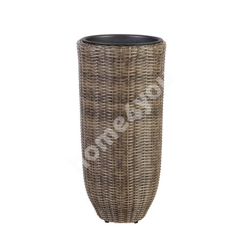 Plant holder WICKER D37xH77cm, plastic wicker, color: dark brown