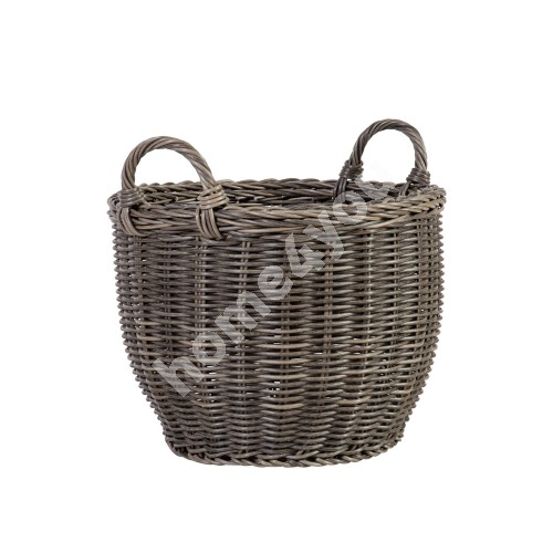 Basket WICKER with handles D41xH30/38cm, plastic wicker, color: grey