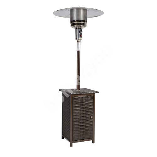 Gas heater WICKER H218cm, metal tank covered with brown palstick wicker, 13kW