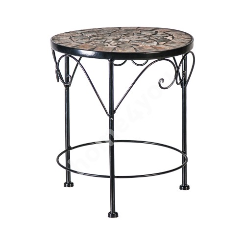 Flower stand MOSAIC D30xH35cm, mosaic top: dark grey/brown stone, metal frame, color: black