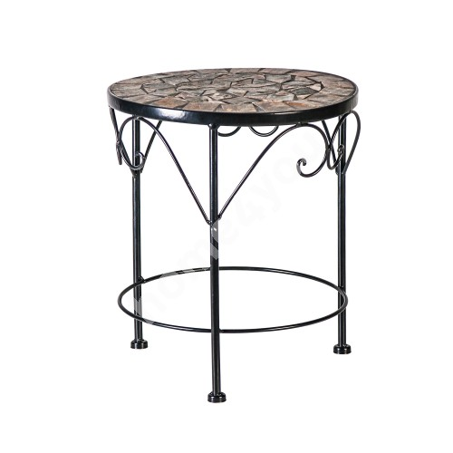 Flower stand MOSAIC D25xH30cm, mosaic top: dark grey/brown stone, metal frame, color: black