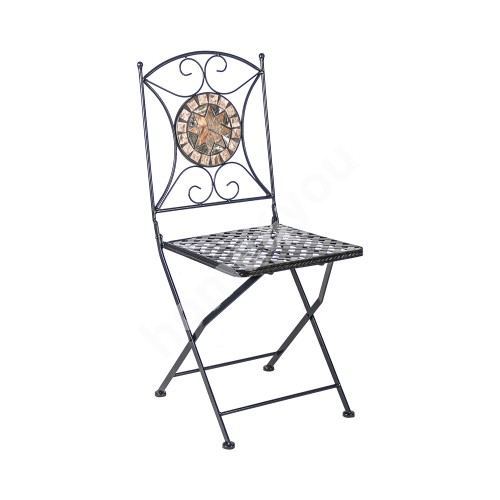 Chair MOSAIC 36x36xH70cm, foldable, rectangular backrest and seat, metal frame, color: black